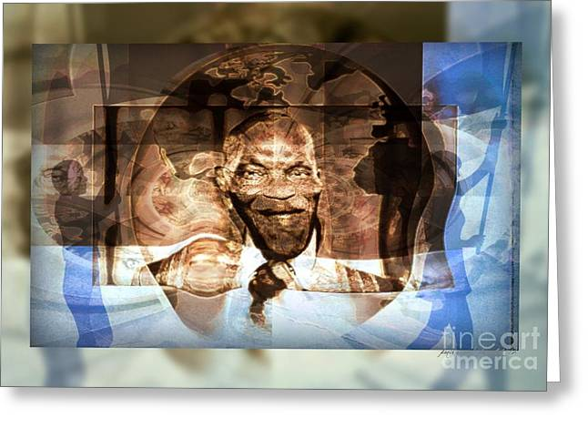 Diaspora Mixed Media Greeting Cards - Prediction - Me Abdoulaye Wade After The Election Greeting Card by Fania Simon