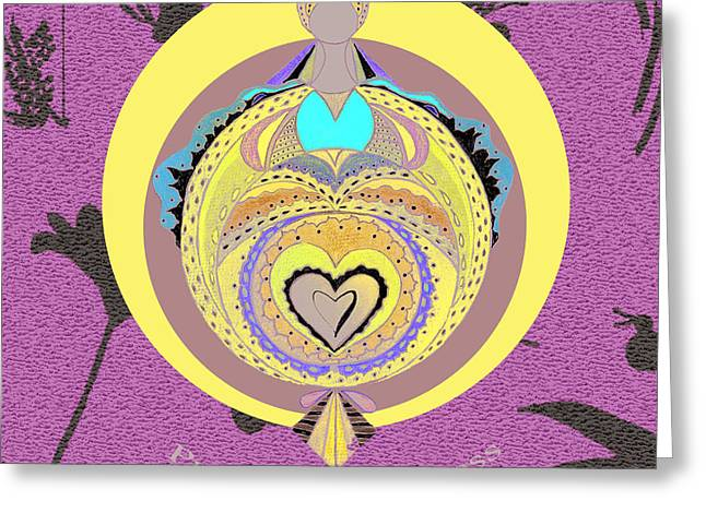 Empowerment Greeting Cards - Pregnant Goddess Yellow Greeting Card by Lori Kirstein