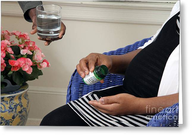 African American Diet Greeting Cards - Pregnant Woman Taking Folic Acid Greeting Card by Photo Researchers