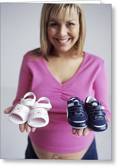 Human Gender Greeting Cards - Pregnant Woman With Baby Shoes Greeting Card by Ian Boddy