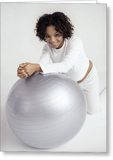 Swiss Greeting Cards - Pregnant Woman With Birthing Ball Greeting Card by Ian Boddy