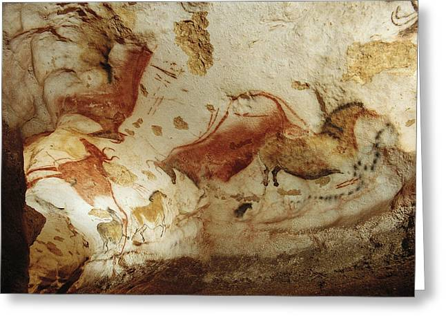 Characters And Scenes In History And The Arts Greeting Cards - Prehistoric Artists Painted Robust Greeting Card by Sisse Brimberg