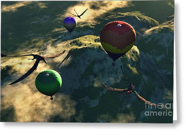Three Hot Air Balloons Greeting Cards - Prehistoric Balloon Rides Take Greeting Card by Mark Stevenson