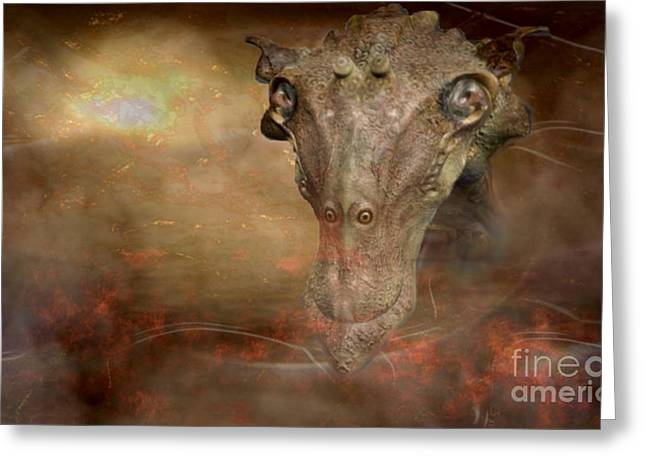 Phantasy Greeting Cards - Prehistoric creature Greeting Card by Jan Willem Van Swigchem