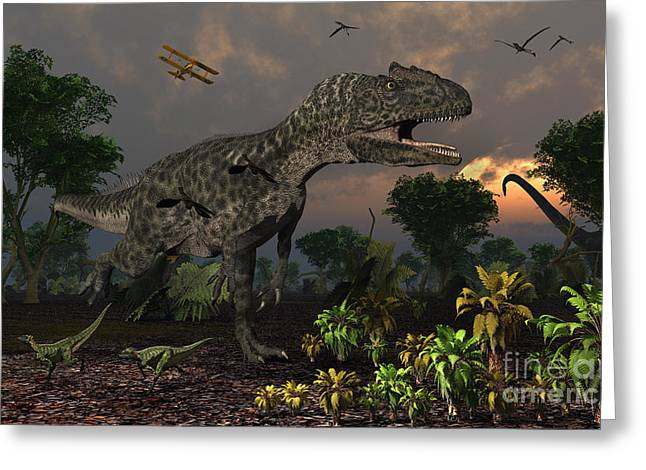 Saurischia Greeting Cards - Prehistoric Dinosaurs Roam Freely Where Greeting Card by Mark Stevenson