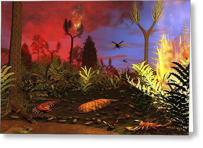 Prehistoric Forest Fire, Artwork Greeting Card by Walter Myers