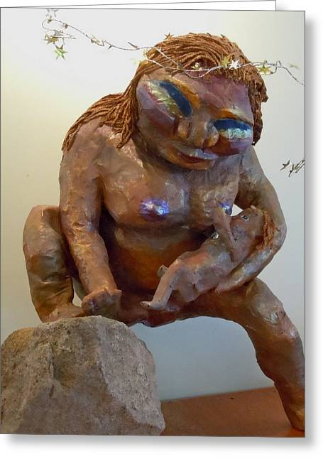 Figure Based Greeting Cards - Prehistoric Madonna Greeting Card by Francine Frank