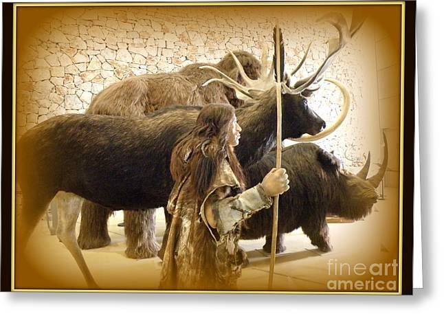 Lainie Wrightson Greeting Cards - Prehistoric Man and Friends Greeting Card by Lainie Wrightson