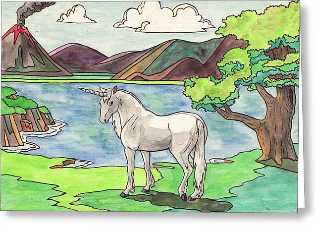 Unicorns Greeting Cards - Prehistoric Unicorn Greeting Card by Crista Forest