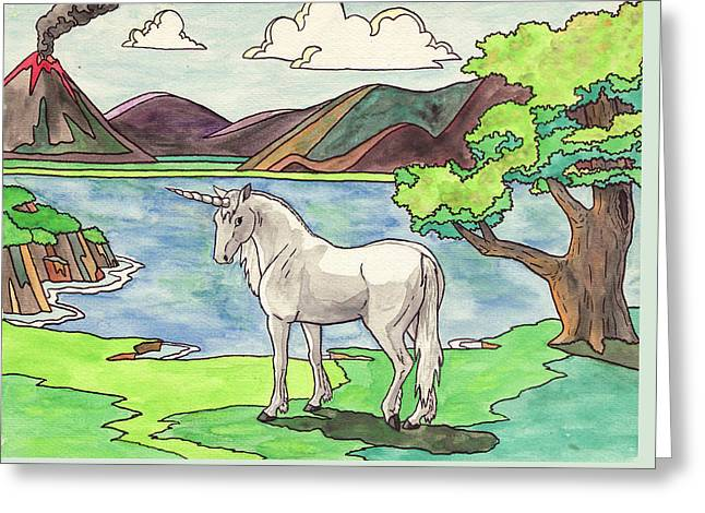 Prehistoric Unicorn Greeting Card by Crista Forest