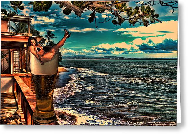 Rincon Digital Art Greeting Cards - Premium Lager on the Veranda Greeting Card by Frank Feliciano