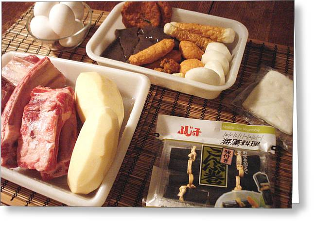 Preparing Oden For The New Year Feast Greeting Card by Hiroko Sakai
