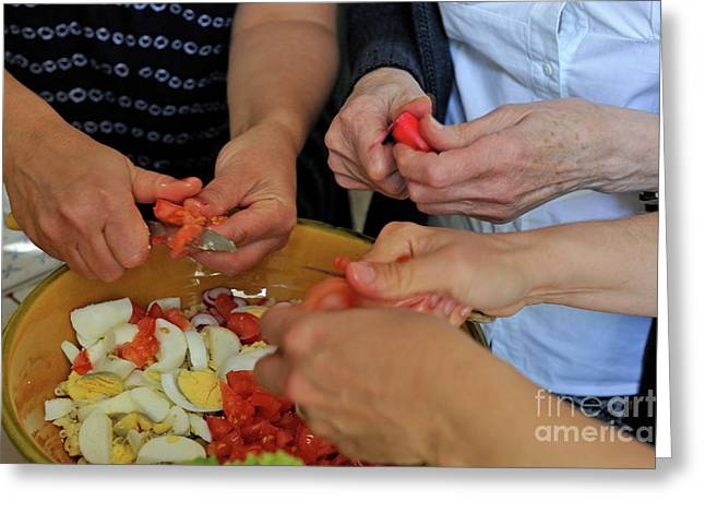 Cooperation Greeting Cards - Preparing salad Greeting Card by Sami Sarkis