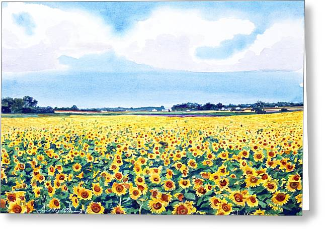 Most Paintings Greeting Cards - Pres de Juane de Tournesois Greeting Card by David Lloyd Glover