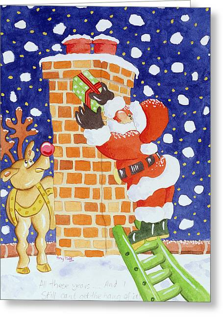 Rudolph Paintings Greeting Cards - Present from Santa Greeting Card by Tony Todd
