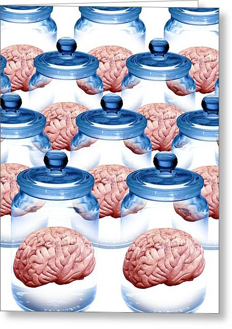 Donates Greeting Cards - Preserved Brains, Artwork Greeting Card by Victor De Schwanberg