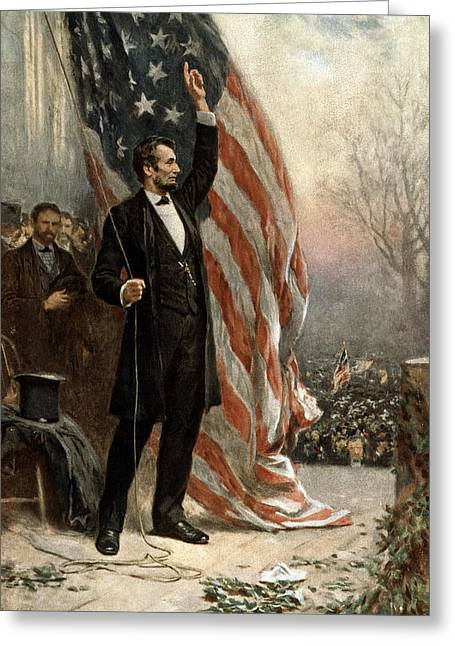 Politician Photographs Greeting Cards - President Abraham Lincoln - American Flag Greeting Card by International  Images