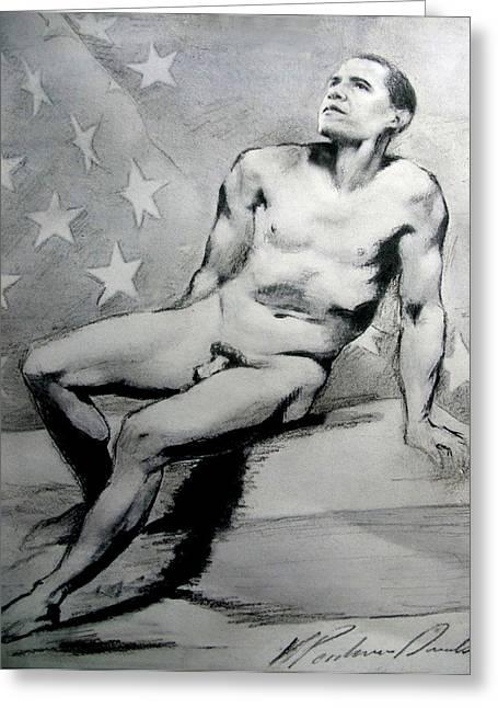 President Barack Obama Nude Study Greeting Card by Karine Percheron-Daniels