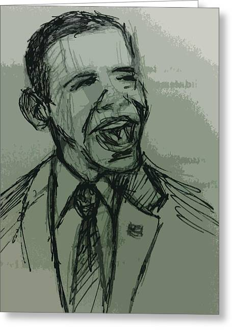 President Obama Mixed Media Greeting Cards - President Barack Obama Greeting Card by William Winkfield