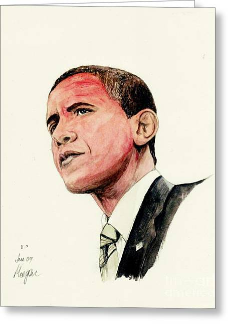 Obama Portrait Mixed Media Greeting Cards - President Barak Obama Greeting Card by Morgan Fitzsimons