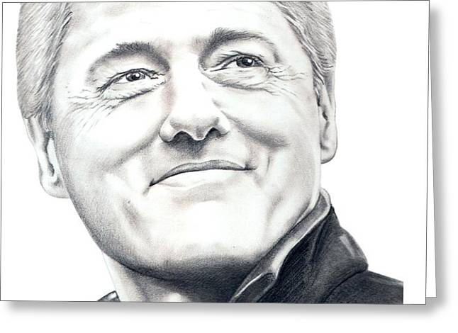 President Bill Clinton Greeting Card by Murphy Elliott