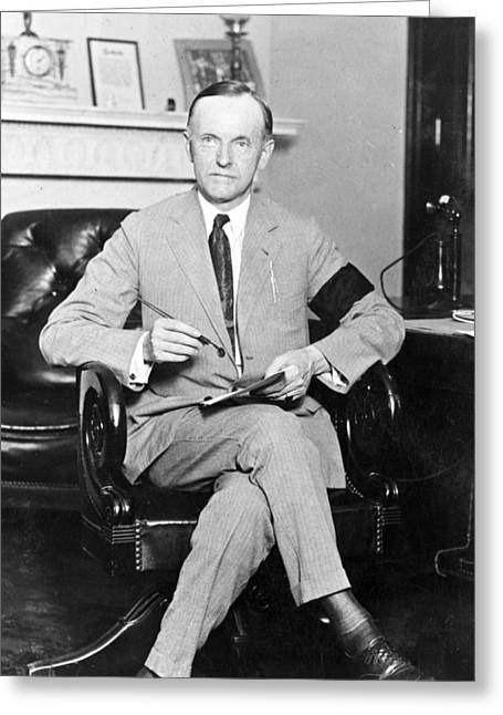 President Of America Greeting Cards - President Calvin Coolidge Greeting Card by International  Images