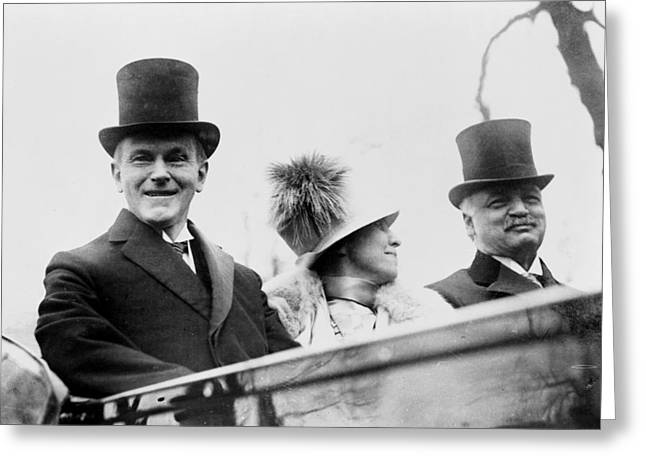 President Calvin Coolidge With His Wife And Senator Curtis On The Way To Capitol - C 1925 Greeting Card by International  Images