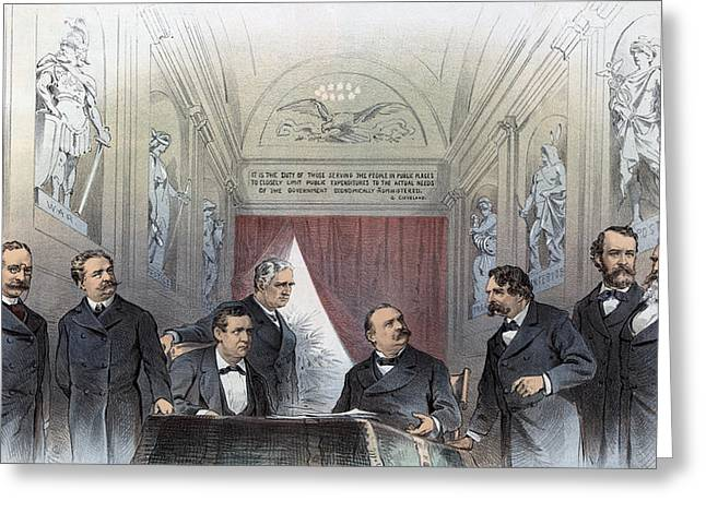 American Politician Greeting Cards - President Cleveland and his cabinet - c 1885 Greeting Card by International  Images
