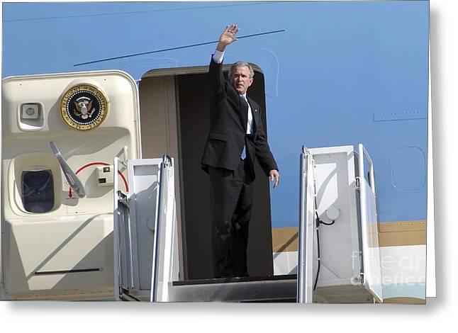 President George Bush Waves Good-bye Greeting Card by Stocktrek Images