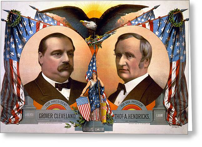 Vice President Photographs Greeting Cards - President Glover Cleveland and Vice President Thomas A Hendricks   Greeting Card by International  Images