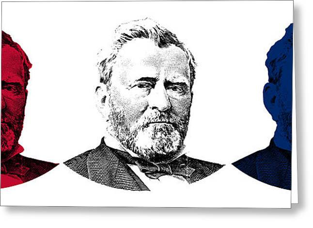 Commander Greeting Cards - President Grant Red White and Blue Greeting Card by War Is Hell Store