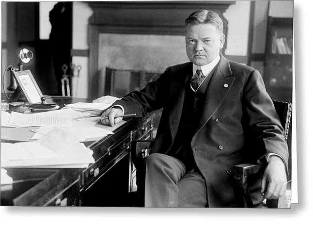 President Of America Greeting Cards - President Herbert Hoover Greeting Card by International  Images