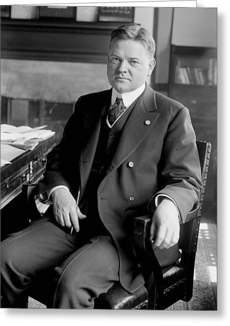President Of America Greeting Cards - President Herbert Hoover sitting at desk Greeting Card by International  Images