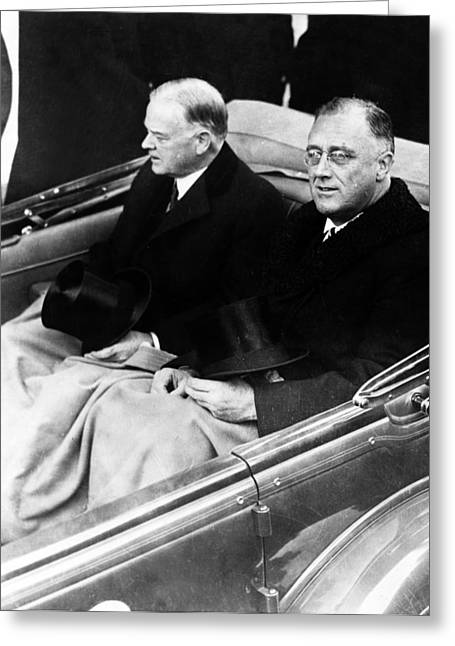 Franklin Delano Greeting Cards - President Hoover and President Elect Franklin Delano Roosevelt - c 1933 Greeting Card by International  Images