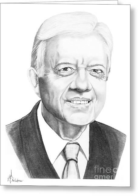 President Carter Greeting Cards - President Jimmy Carter Greeting Card by Murphy Elliott