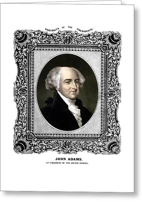 4th July Greeting Cards - President John Adams Portrait  Greeting Card by War Is Hell Store