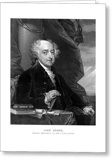 Revolutionary War Drawings Greeting Cards - President John Adams Greeting Card by War Is Hell Store