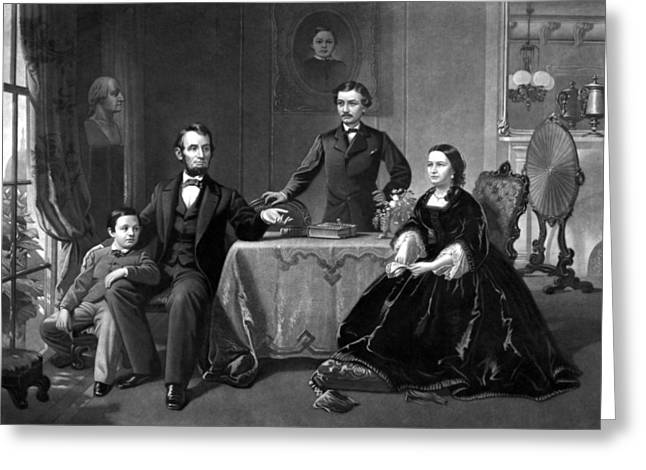 Honest Greeting Cards - President Lincoln And His Family  Greeting Card by War Is Hell Store