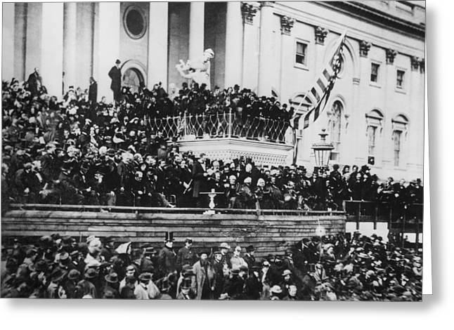 Inauguration Photographs Greeting Cards - President Lincoln gives his second inaugural address - March 4 1865 Greeting Card by International  Images