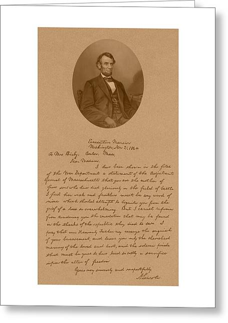 Honest Greeting Cards - President Lincolns Letter To Mrs. Bixby Greeting Card by War Is Hell Store