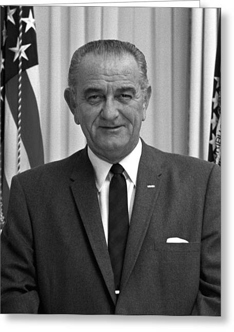 Democratic Party Greeting Cards - President Lyndon Johnson Greeting Card by War Is Hell Store