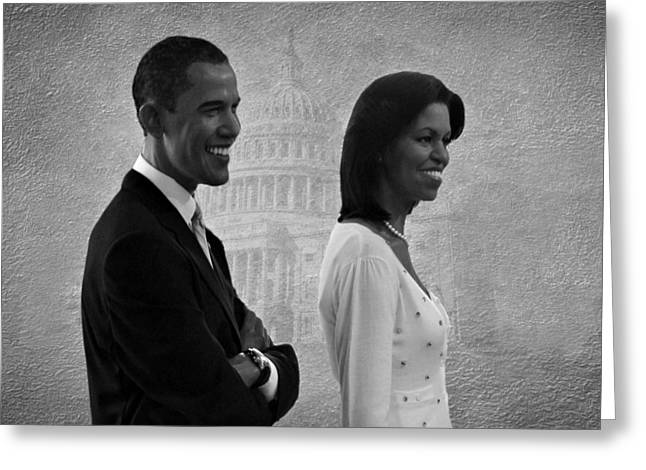 Michelle Obama Photographs Greeting Cards - President Obama and First Lady BW Greeting Card by David Dehner