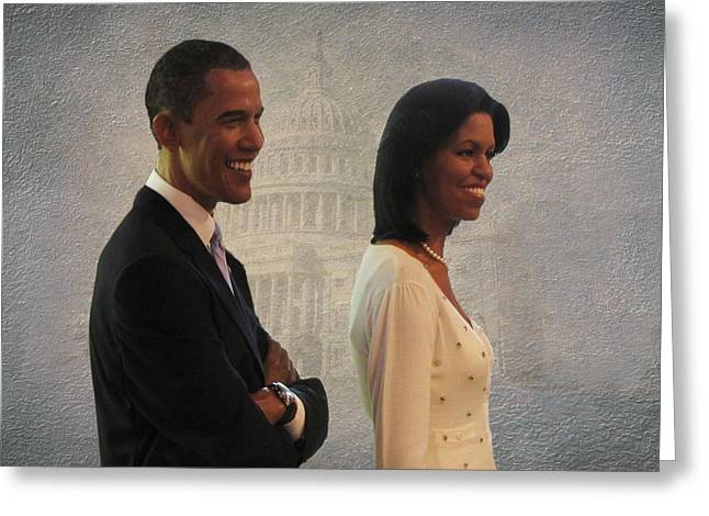 President Obama Greeting Cards - President Obama and First Lady Greeting Card by David Dehner