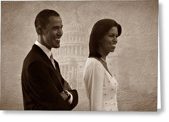 Michelle Greeting Cards - President Obama and First Lady S Greeting Card by David Dehner