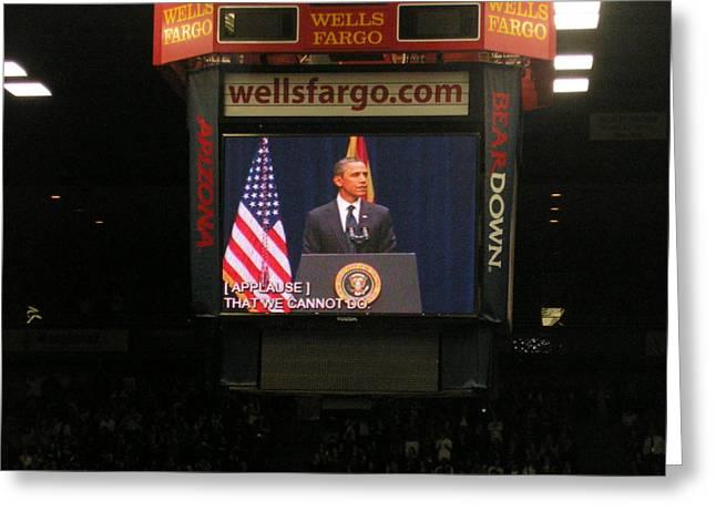 President Obama Greeting Cards - President Obama McHale Center 2  Greeting Card by Jayne Kerr