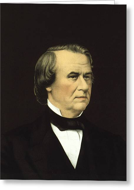 American Politician Greeting Cards - President of the United States - Andrew Johnson Greeting Card by International  Images