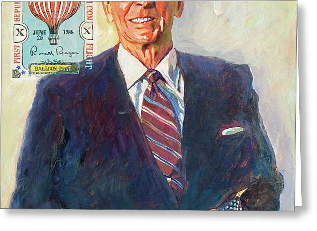 President Reagan Balloon Stamp Greeting Card by David Lloyd Glover