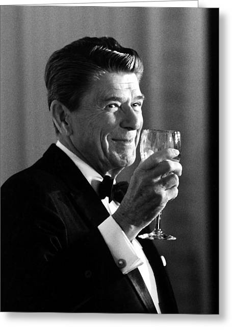 Cold Greeting Cards - President Reagan Making A Toast Greeting Card by War Is Hell Store