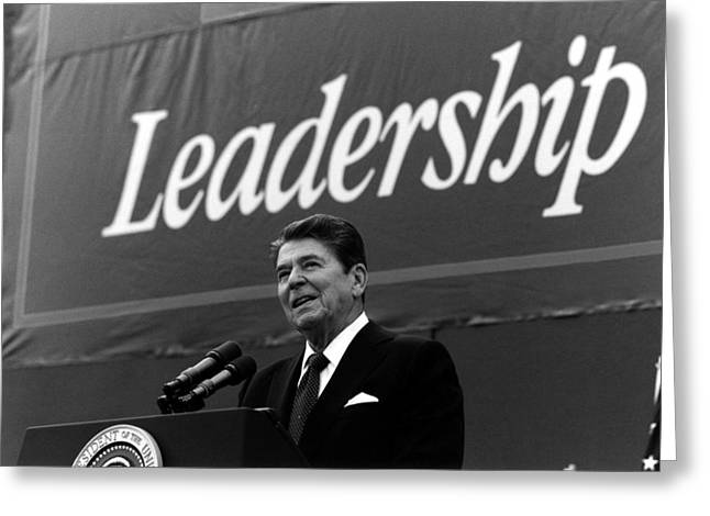President Reagan Greeting Cards - President Ronald Reagan Leadership Photo Greeting Card by War Is Hell Store