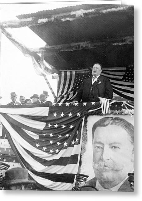 U S Presidents Greeting Cards - President Taft giving a speech in Augusta - Georgia c 1910 Greeting Card by International  Images
